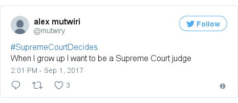 Twitter post by @mutwiry: #SupremeCourtDecidesWhen I grow up I want to be a Supreme Court judge