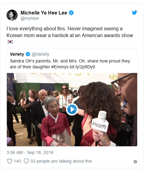 Twitter post by @myhlee: I love everything about this. Never imagined seeing a Korean mom wear a hanbok at an American awards show 🇰🇷