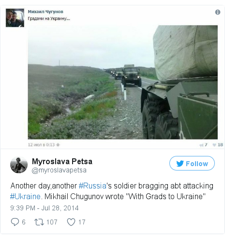 "Twitter post by @myroslavapetsa: Another day,another #Russia's soldier bragging abt attacking #Ukraine. Mikhail Chugunov wrote ""With Grads to Ukraine"" pic.twitter.com/DKWyGIubXu"