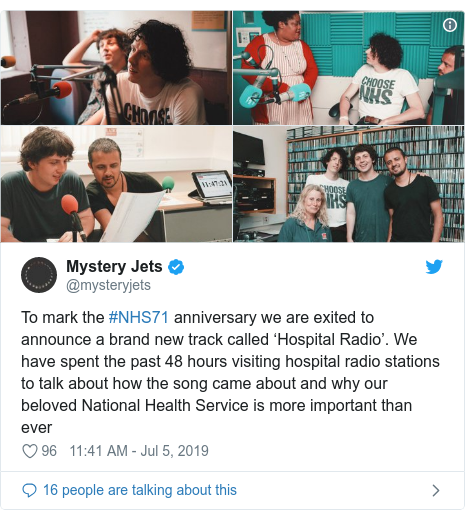 Twitter post by @mysteryjets: To mark the #NHS71 anniversary we are exited to announce a brand new track called 'Hospital Radio'. We have spent the past 48 hours visiting hospital radio stations to talk about how the song came about and why our beloved National Health Service is more important than ever