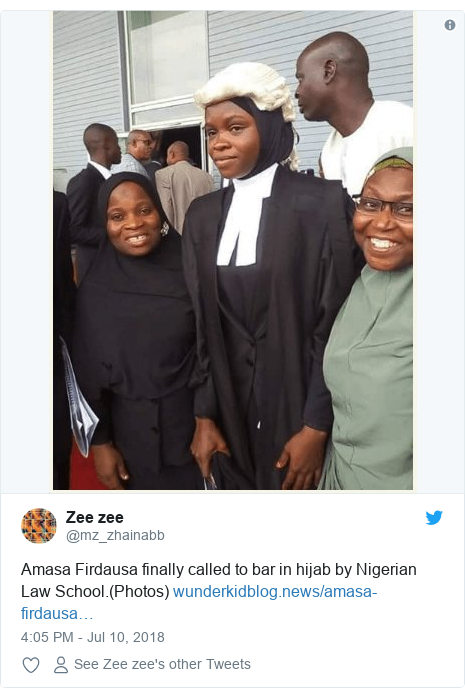 Twitter post by @mz_zhainabb: Amasa Firdausa finally called to bar in hijab by Nigerian Law School.(Photos)