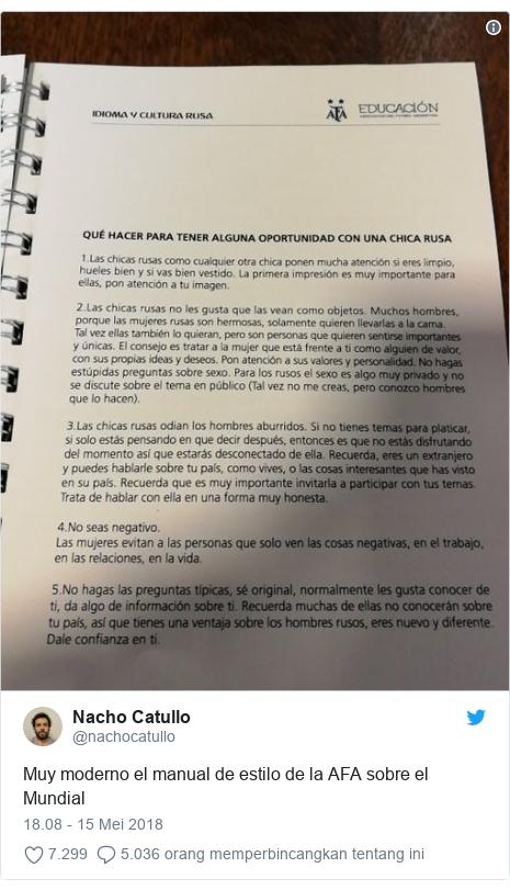 Twitter pesan oleh @nachocatullo: Muy moderno el manual de estilo de la AFA sobre el Mundial