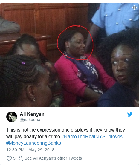Ujumbe wa Twitter wa @nakuona: This is not the expression one displays if they know they will pay dearly for a crime.#NameTheRealNYSThieves #MoneyLaunderingBanks