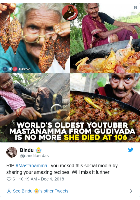 Twitter post by @nanditasrdas: RIP #Mastanamma...you rocked this social media by sharing your amazing recipes. Will miss it further