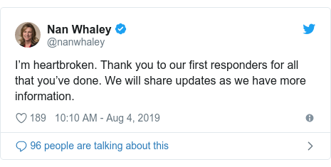 Twitter post by @nanwhaley: I'm heartbroken. Thank you to our first responders for all that you've done. We will share updates as we have more information.