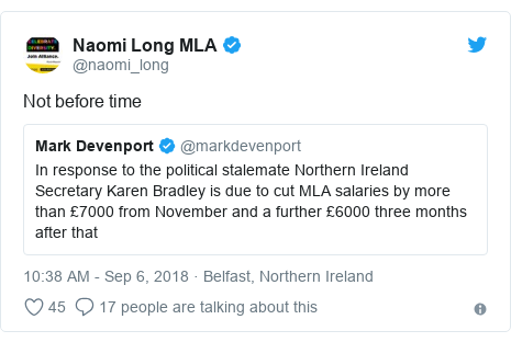 Twitter post by @naomi_long: Not before time