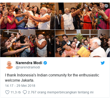 Twitter pesan oleh @narendramodi: I thank Indonesia's Indian community for the enthusiastic welcome Jakarta.