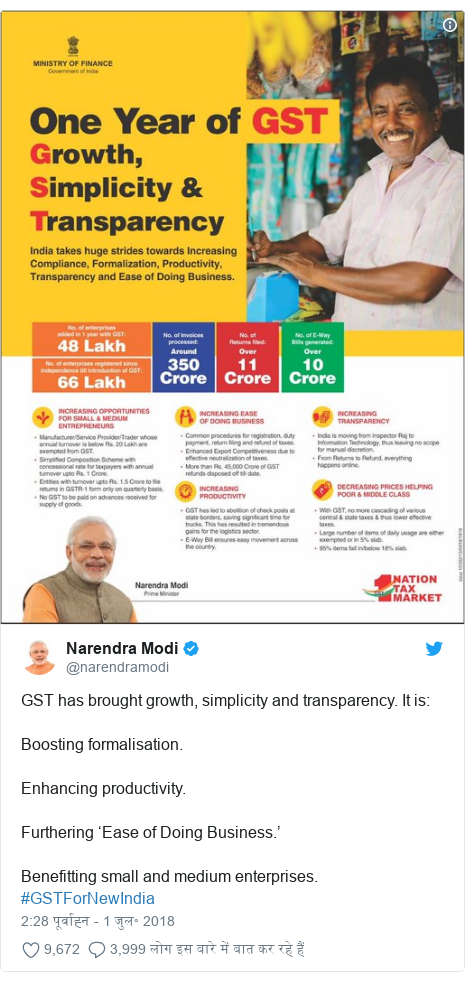 ट्विटर पोस्ट @narendramodi: GST has brought growth, simplicity and transparency. It is Boosting formalisation.Enhancing productivity.Furthering 'Ease of Doing Business.'Benefitting small and medium enterprises. #GSTForNewIndia