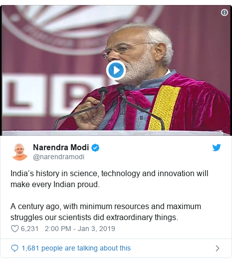 Twitter post by @narendramodi: India's history in science, technology and innovation will make every Indian proud.A century ago, with minimum resources and maximum struggles our scientists did extraordinary things.