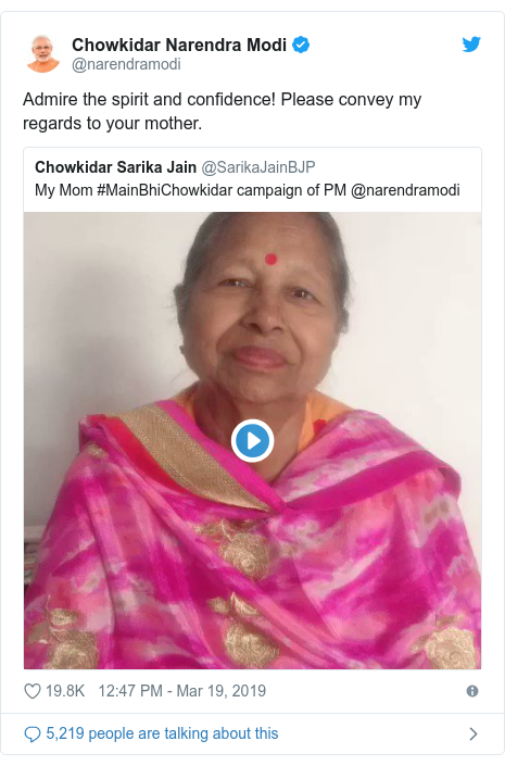 Twitter post by @narendramodi: Admire the spirit and confidence! Please convey my regards to your mother.