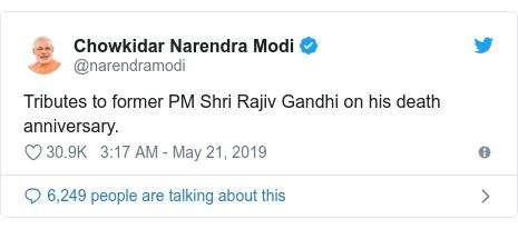 Twitter post by @narendramodi: Tributes to former PM Shri Rajiv Gandhi on his death anniversary.