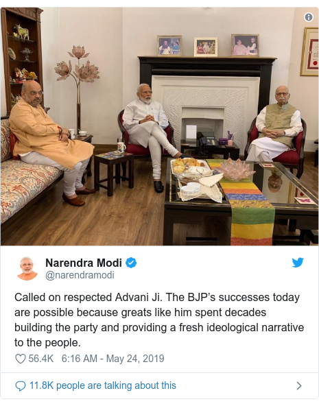 Twitter post by @narendramodi: Called on respected Advani Ji. The BJP's successes today are possible because greats like him spent decades building the party and providing a fresh ideological narrative to the people.