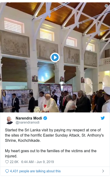 Twitter හි @narendramodi කළ පළකිරීම: Started the Sri Lanka visit by paying my respect at one of the sites of the horrific Easter Sunday Attack, St. Anthony's Shrine, Kochchikade. My heart goes out to the families of the victims and the injured.