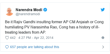 Twitter post by @narendramodi: Be it Rajiv Gandhi insulting former AP CM Anjaiah or Cong humiliating PV Narasimha Rao, Cong has a history of ill-treating leaders from AP.