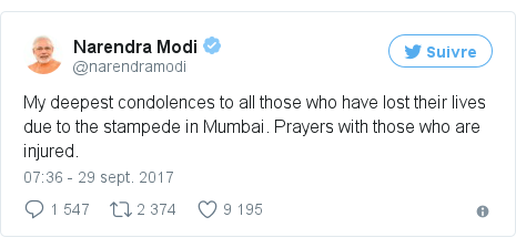 Twitter publication par @narendramodi: My deepest condolences to all those who have lost their lives due to the stampede in Mumbai. Prayers with those who are injured.