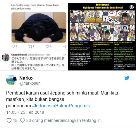 Twitter pesan oleh @narkosun: Pembuat kartun asal Jepang sdh minta maaf. Mari kita maafkan, kita bukan bangsa pendendam.#IndonesiaBukanPengemis
