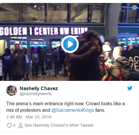 Twitter post by @nashellytweets: The arena's main entrance right now. Crowd looks like a mix of protestors and @SacramentoKings fans.
