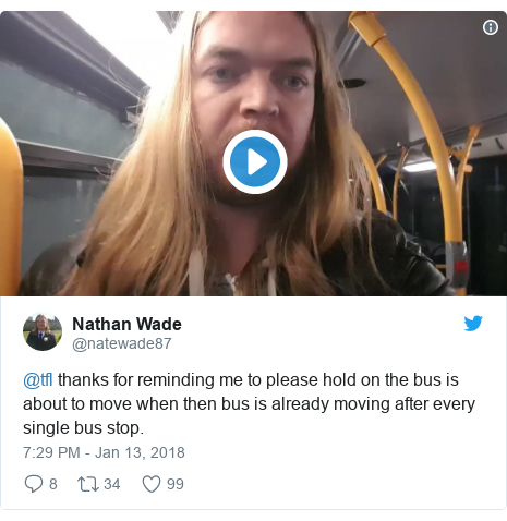 Twitter post by @natewade87: @tfl thanks for reminding me to please hold on the bus is about to move when then bus is already moving after every single bus stop.