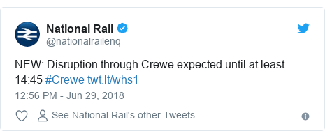 Twitter post by @nationalrailenq: NEW  Disruption through Crewe expected until at least 14 45 #Crewe