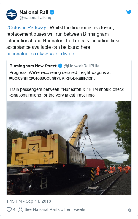 Twitter post by @nationalrailenq: #ColeshillParkway - Whilst the line remains closed, replacement buses will run between Birmingham International and Nuneaton. Full details including ticket acceptance available can be found here