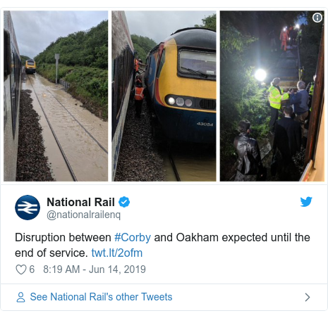 Twitter post by @nationalrailenq: Disruption between #Corby and Oakham expected until the end of service.
