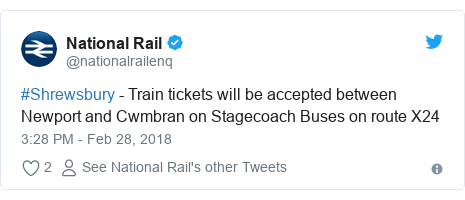 Twitter post by @nationalrailenq: #Shrewsbury - Train tickets will be accepted between Newport and Cwmbran on Stagecoach Buses on route X24