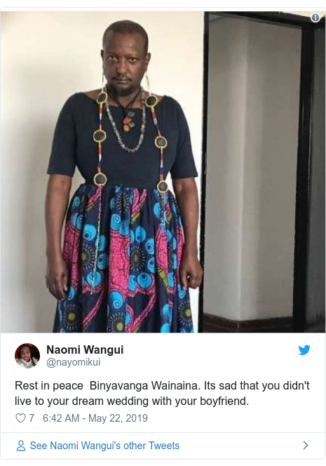Twitter post by @nayomikui: Rest in peace  Binyavanga Wainaina. Its sad that you didn't live to your dream wedding with your boyfriend.
