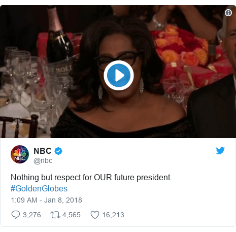 Twitter post by @nbc: Nothing but respect for OUR future president. #GoldenGlobes