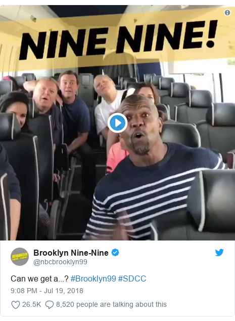 Twitter post by @nbcbrooklyn99: Can we get a...? #Brooklyn99 #SDCC