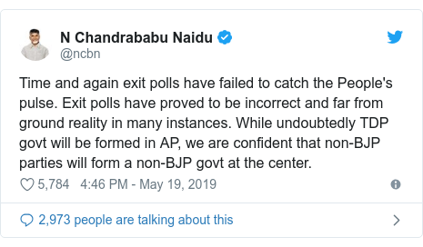Twitter post by @ncbn: Time and again exit polls have failed to catch the People's pulse. Exit polls have proved to be incorrect and far from ground reality in many instances. While undoubtedly TDP govt will be formed in AP, we are confident that non-BJP parties will form a non-BJP govt at the center.