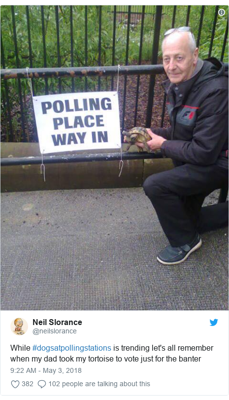 Twitter post by @neilslorance: While #dogsatpollingstations is trending let's all remember when my dad took my tortoise to vote just for the banter