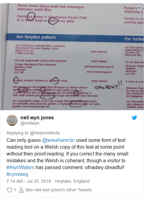 Twitter post by @neilwyn: Can only guess @wrexhamcbc used some form of text reading tool on a Welsh copy of this text at some point without then proof-reading. If you correct the many small mistakes and the Welsh is coherant, though a visitor to #AlynWaters has passed comment  ofnadwy-dreadful! #cymraeg