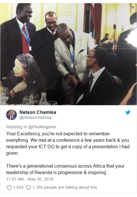 Twitter post by @nelsonchamisa: Your Excellency, you're not expected to remember everything. We met at a conference a few years back & you requested your ICT DG to get a copy of a presentation I had given.There's a generational consensus across Africa that your leadership of Rwanda is progressive & inspiring.