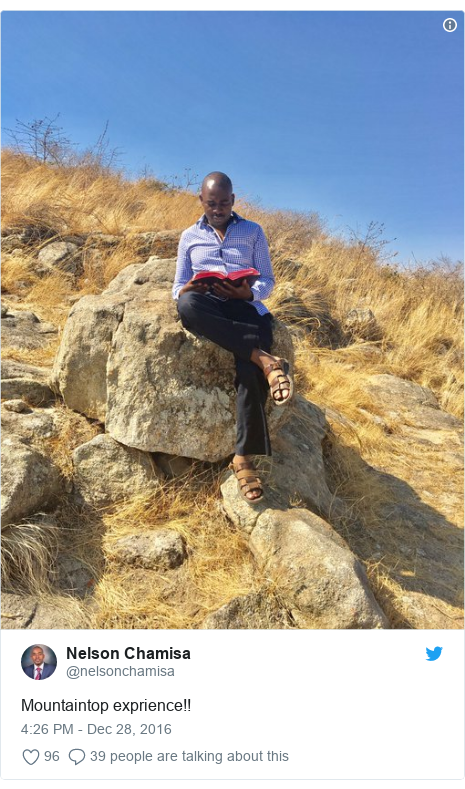 Twitter post by @nelsonchamisa: Mountaintop exprience!!