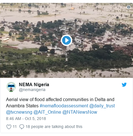 Twitter post by @nemanigeria: Aerial view of flood affected communities in Delta and Anambra States #nemafloodassessment @daily_trust @tvcnewsng @AIT_Online @NTANewsNow
