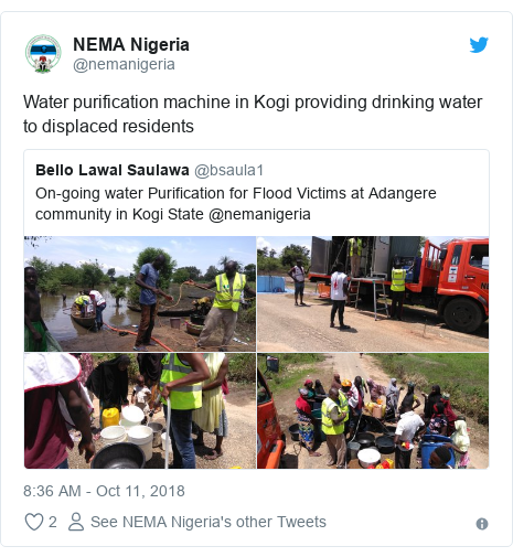 Twitter post by @nemanigeria: Water purification machine in Kogi providing drinking water to displaced residents