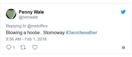 Twitter post by @nenwale: Blowing a hoolie . Stornoway #3wordweather