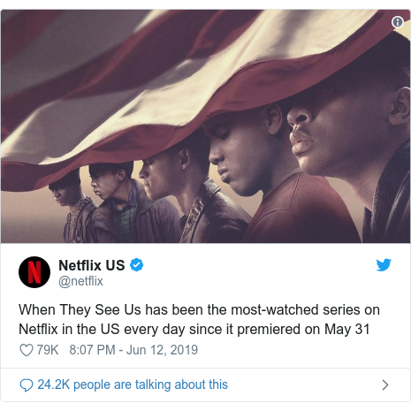 Twitter post by @netflix: When They See Us has been the most-watched series on Netflix in the US every day since it premiered on May 31
