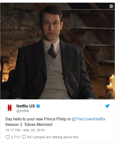 Twitter post by @netflix: Say hello to your new Prince Philip in @TheCrownNetflix Season 3  Tobias Menzies!