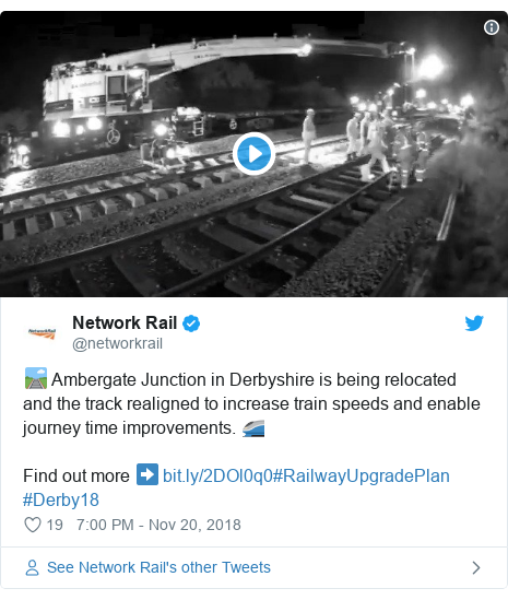 Twitter post by @networkrail: 🛤 Ambergate Junction in Derbyshire is being relocated and the track realigned to increase train speeds and enable journey time improvements. 🚄 Find out more ➡ #RailwayUpgradePlan #Derby18