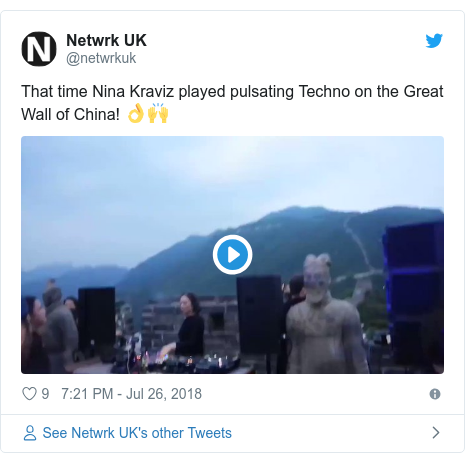 Twitter post by @netwrkuk: That time Nina Kraviz played pulsating Techno on the Great Wall of China! 👌🙌
