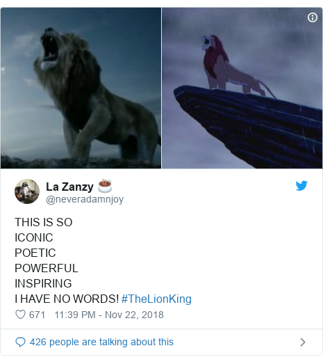 Twitter post by @neveradamnjoy: THIS IS SOICONICPOETIC POWERFUL INSPIRING I HAVE NO WORDS! #TheLionKing