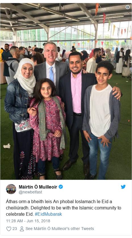 Twitter post by @newbelfast: Áthas orm a bheith leis An phobal Ioslamach le Eid a cheiliúradh. Delighted to be with the Islamic community to celebrate Eid. #EidMubarak