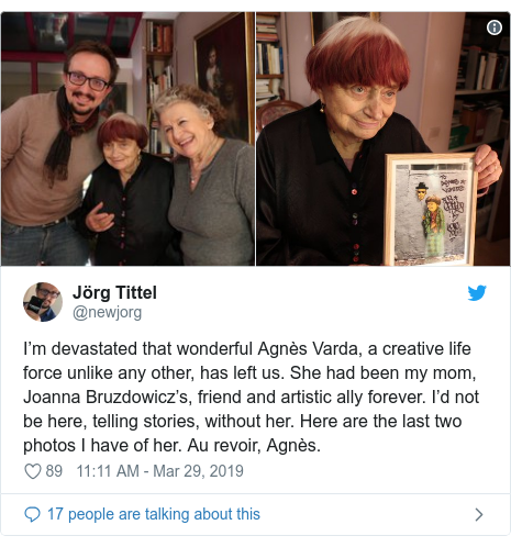 Twitter post by @newjorg: I'm devastated that wonderful Agnès Varda, a creative life force unlike any other, has left us. She had been my mom, Joanna Bruzdowicz's, friend and artistic ally forever. I'd not be here, telling stories, without her. Here are the last two photos I have of her. Au revoir, Agnès.