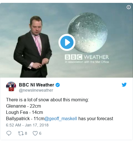 Twitter post by @newslineweather: There is a lot of snow about this morning Glenanne - 22cmLough Fea - 14cmBallypatrick - 11cm@geoff_maskell has your forecast