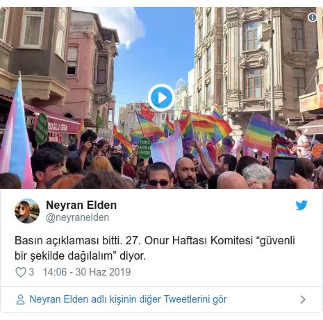 """@neyranelden tarafından yapılan Twitter paylaşımı: Basın açıklaması bitti. 27. Onur Haftası Komitesi """"güvenli bir şekilde dağılalım"""" diyor."""