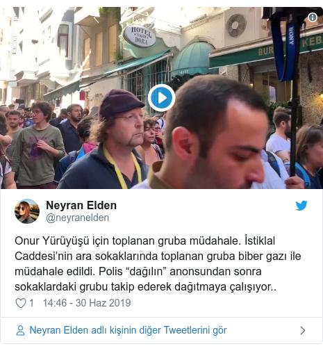"""@neyranelden tarafından yapılan Twitter paylaşımı: Onur Yürüyüşü için toplanan gruba müdahale. İstiklal Caddesi'nin ara sokaklarında toplanan gruba biber gazı ile müdahale edildi. Polis """"dağılın"""" anonsundan sonra sokaklardaki grubu takip ederek dağıtmaya çalışıyor.."""