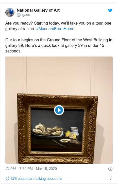 Twitter post by @ngadc: Are you ready? Starting today, we'll take you on a tour, one gallery at a time. #MuseumFromHomeOur tour begins on the Ground Floor of the West Building in gallery 39. Here's a quick look at gallery 39 in under 15 seconds.