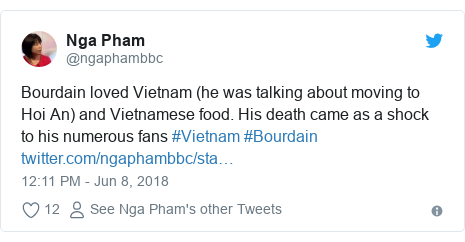 Twitter post by @ngaphambbc: Bourdain loved Vietnam (he was talking about moving to Hoi An) and Vietnamese food. His death came as a shock to his numerous fans #Vietnam #Bourdain