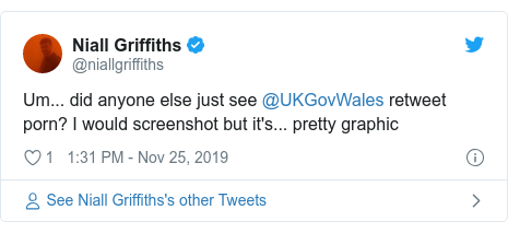 Twitter post by @niallgriffiths: Um... did anyone else just see @UKGovWales retweet porn? I would screenshot but it's... pretty graphic